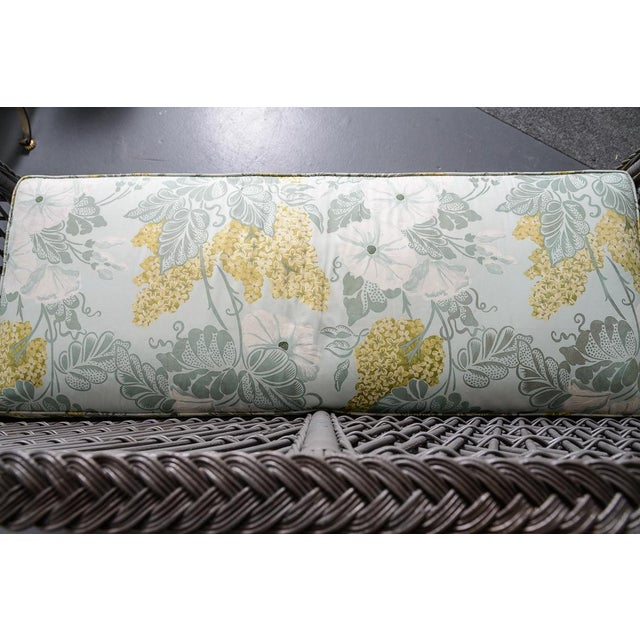Vintage High Back Wicker Loveseat/Settee in Grey For Sale - Image 9 of 12