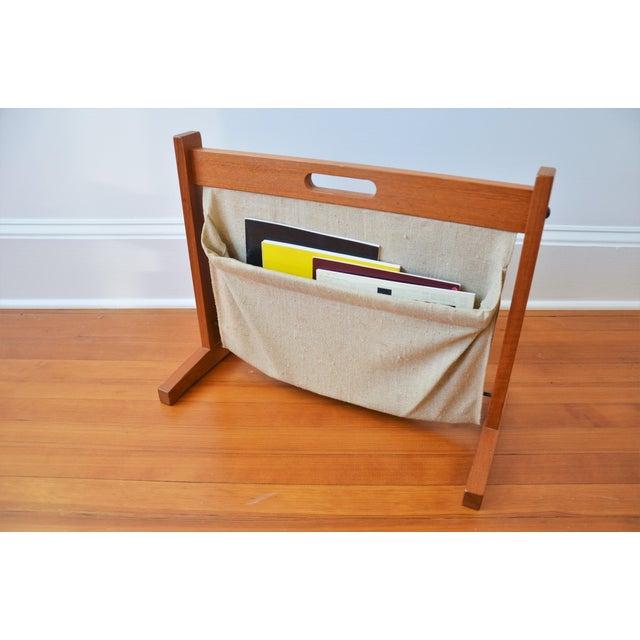 Brdr. Furbo Brdr Furdo Danish Modern Teak and Linen Double Magazine Rack For Sale - Image 4 of 12