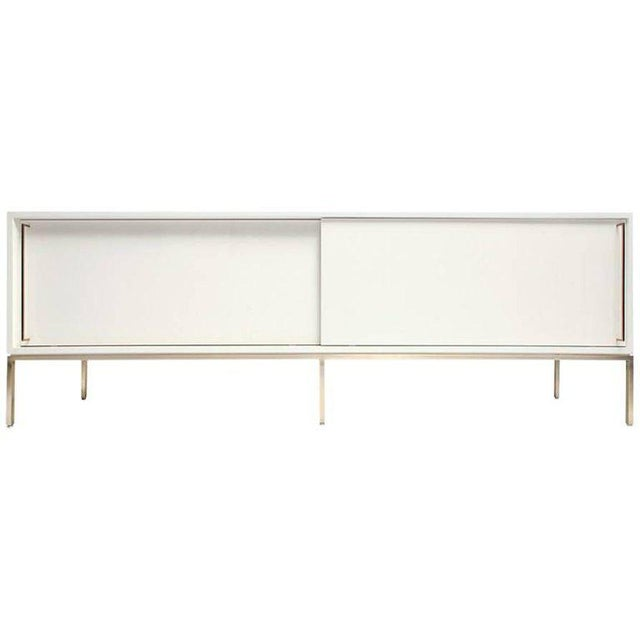 Re 379 Credenza in Wrought Iron With White Doors on Black Base For Sale - Image 11 of 13