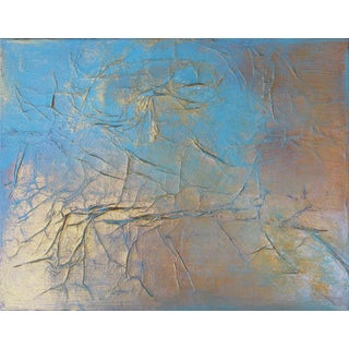 Metallic Blue & Gold Textured Abstract Modern Painting