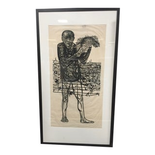 Leonard Baskin Rare Pencil Signed Monumental Woodcut Man of Peace For Sale