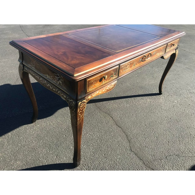 Asian 1980s Chinoiserie Drexel Writing Desk With Matching Chair -2 Pieces For Sale - Image 3 of 12