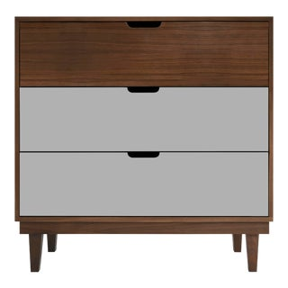 Kabano Modern Kids 3-Drawer Dresser in Walnut With Gray Finish For Sale