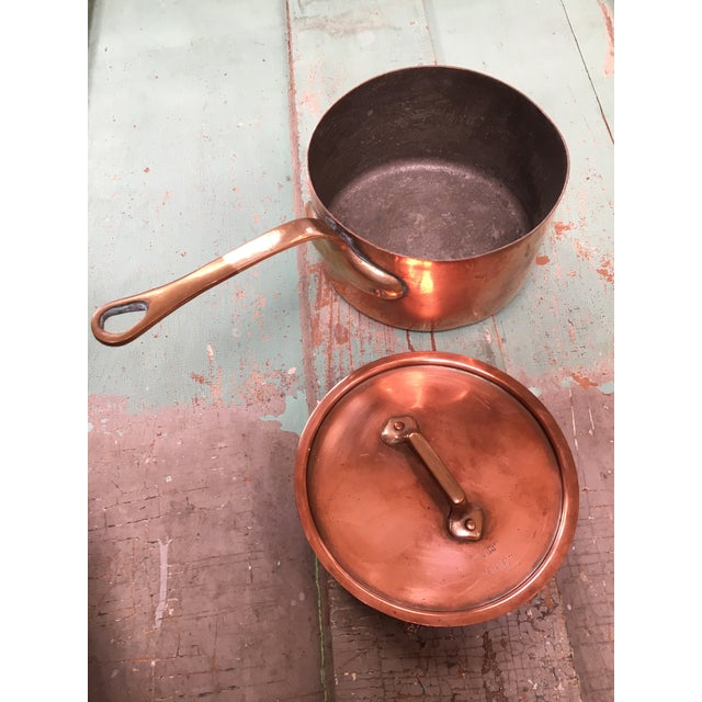 French Bazar Francais Copper #14 Saucepan with Lid For Sale - Image 3 of 8
