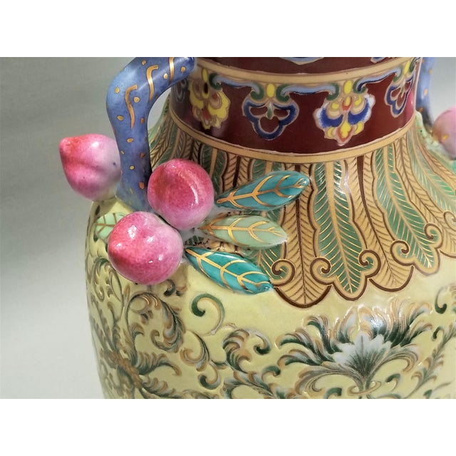 1960s 1960s Vintage Famille Rose Floral Chinese Table Lamp With Peaches For Sale - Image 5 of 12