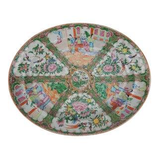 Antique Chinese Rose Medallion Platter, 1840