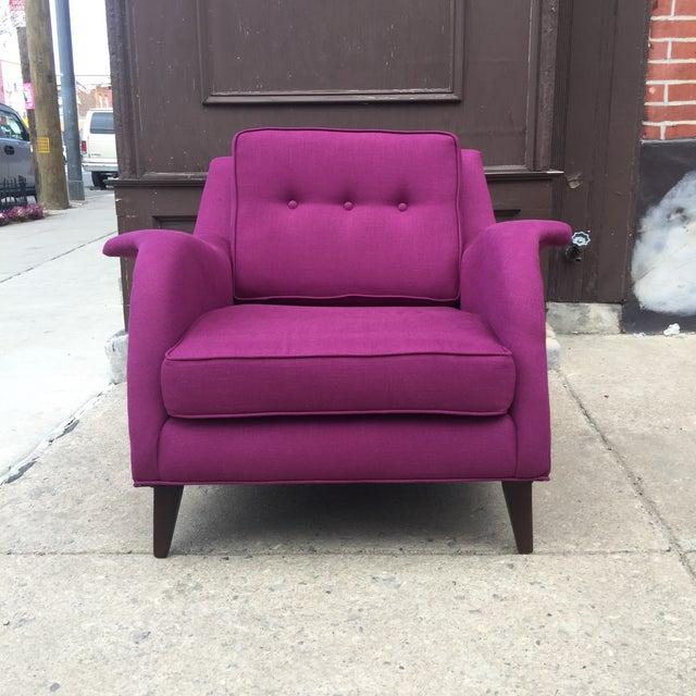 Mid Century Modern Raspberry Linen Armchair - Image 3 of 6