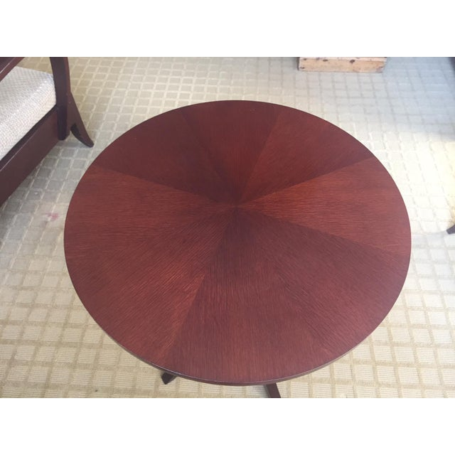 """Nancy Corzine Laughton Walnut Pie-Cut Side Table This table has a 24"""" Diameter and is 27"""" height. Overall the condition is..."""