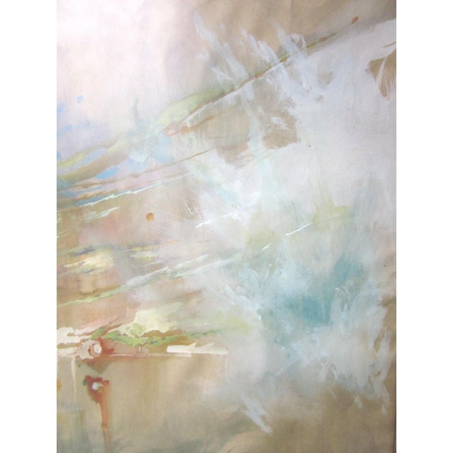 Vintage Mid-Century Abstract Soft Pastel on Paper Signed & Framed Painting For Sale - Image 4 of 10