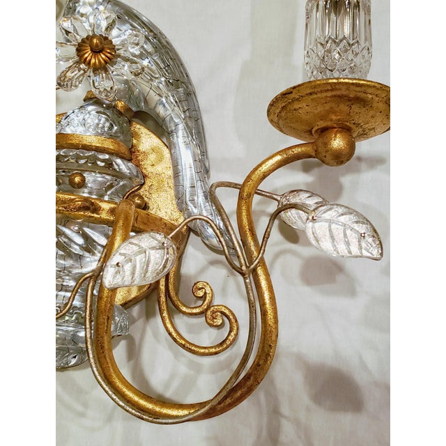 French Maison Baquès Bronze and Crystal Parrot Sconces - a Pair For Sale In Detroit - Image 6 of 8