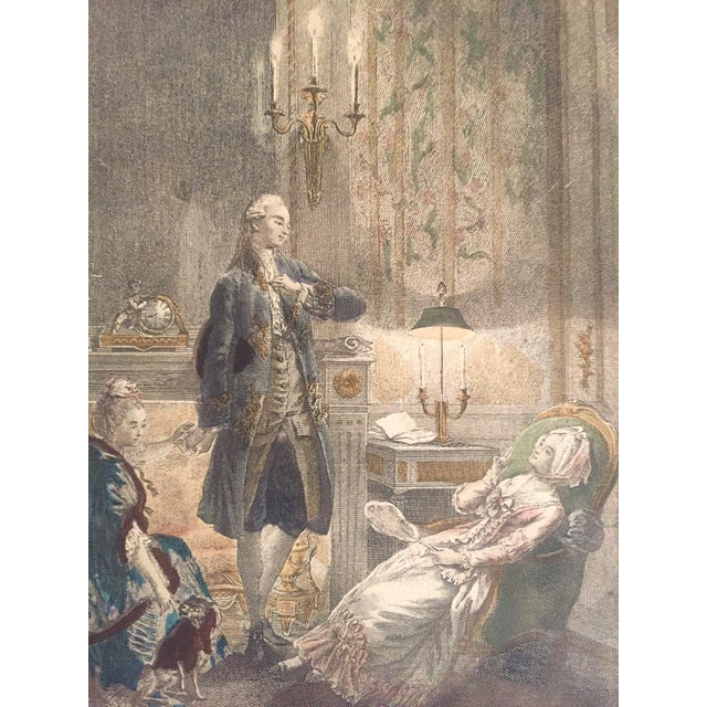 """Late 18th Century Rare Antique 1774 Freudenberger """" La Soiree D' Hyver """" Hand Painted French Engraving Art Print For Sale - Image 5 of 11"""