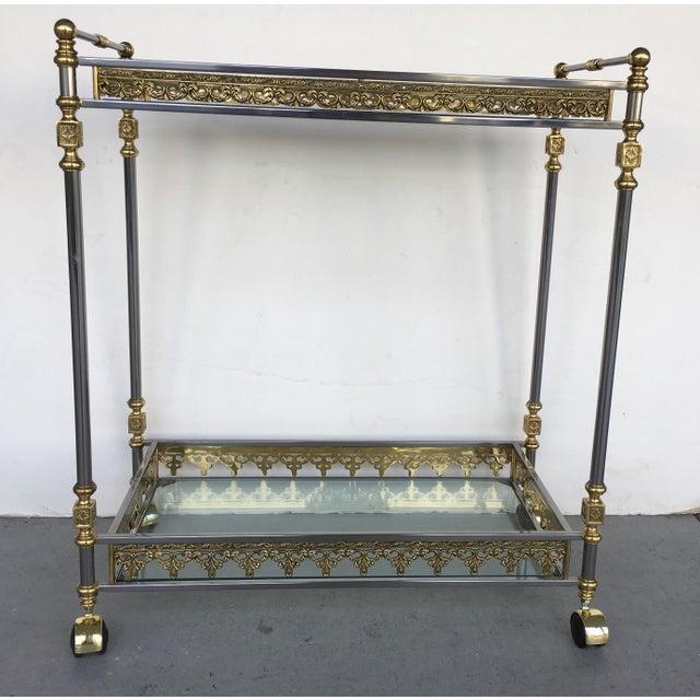 Modern and Classic Italian Brass & Glass Bar Cart - Image 8 of 8