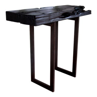 "Handmade Organic Modern Shou-Sugi-Ban Black Natural Edge Console Table 41"" For Sale"