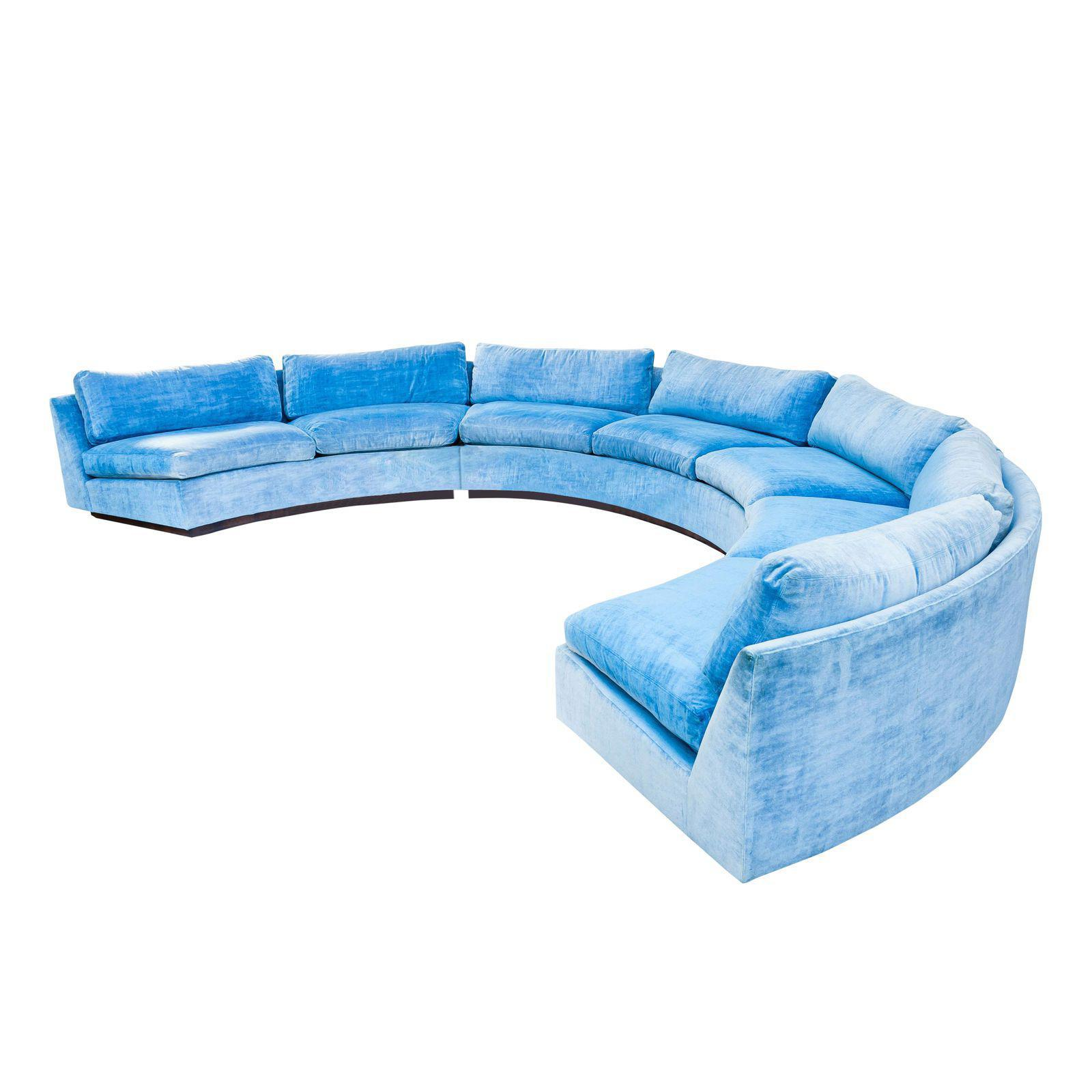 Milo Baughman Curved Sofa With Rosewood Base