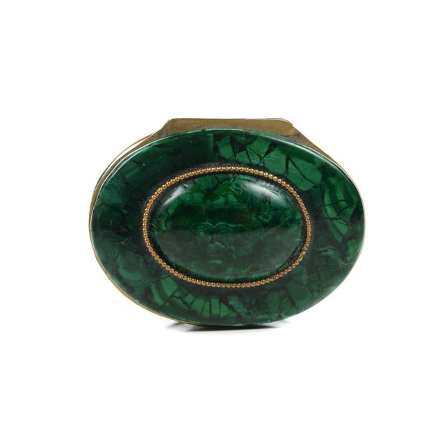 Russian Malachite Oval Compact Jewelry Box - Image 3 of 8