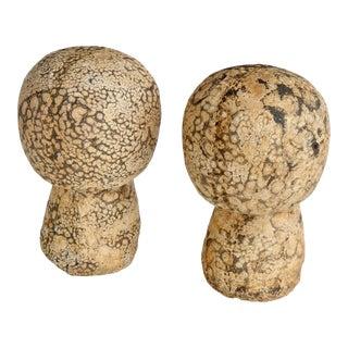Mid 20th Century Folk Art Handmade Ceramic Mushrooms - a Pair For Sale