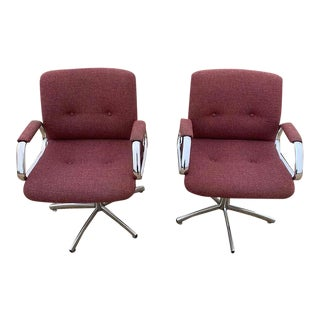 Vintage Verner Panton Era Chrome Steelcase Office Chairs - a Pair For Sale