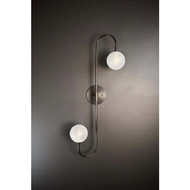 Bronze Piega Wall Lamp or Flushmount in Oil-Rubbed Bronze & Glass by Blueprint Lighting For Sale - Image 8 of 8