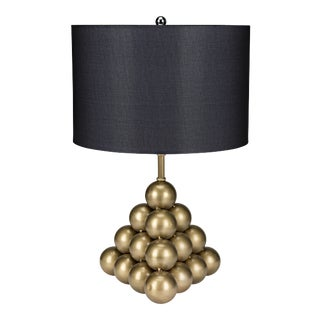 Lea Table Lamp with Shade in Antique Brass For Sale