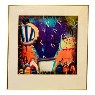 Post-Modern Abstract Framed Lithograph by Margarete Bagshaw For Sale