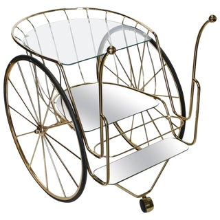 Modern Italian Brass Bar Cart For Sale