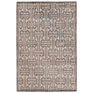 Dartford Hand-Knotted Bamboo/Silk Ivory Rug - 10'x14' For Sale