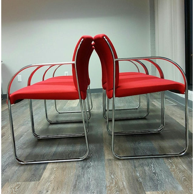 Curvilinear Chrome Chairs - Set of 6 - Image 4 of 9