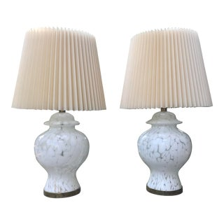 Large Murano Glass Ginger Jar Lamps - a Pair For Sale