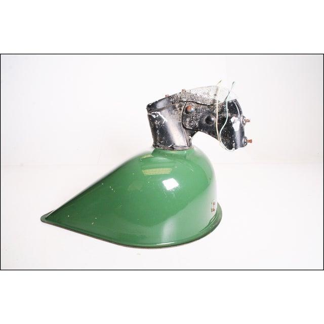Vintage Industrial Large Green Enamel Light Fixture with Bracket - Image 3 of 11