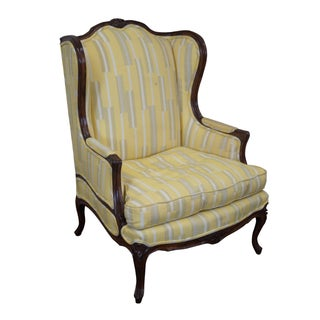 French Louis XV High Back Bergere Wing Chair For Sale