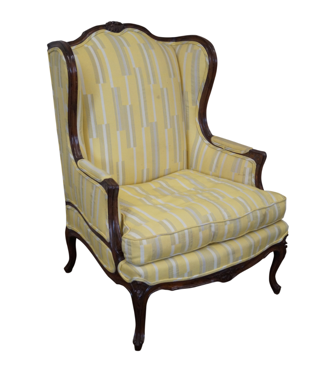 French Louis XV High Back Bergere Wing Chair