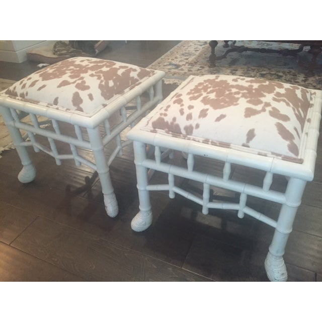 Chinoiserie Chic Hollywood Regency Stools - Pair - Image 5 of 11