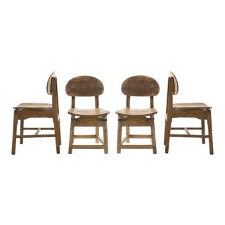 1920s Indian Teak Wood School Chairs - Set of 4 For Sale