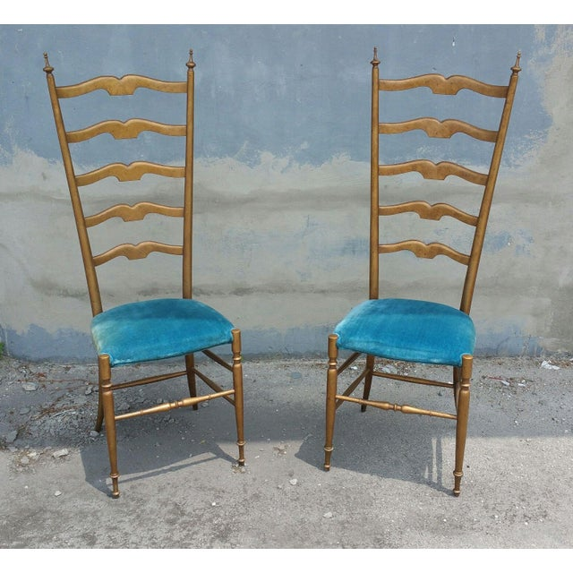 Wood 1950's Italian Exaggerated Ladder Back Chairs - a Pair For Sale - Image 7 of 7
