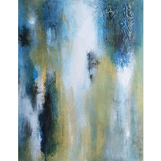 Abstract Textured Original Abstract Canvas Art Painting Blue Gold Green For Sale