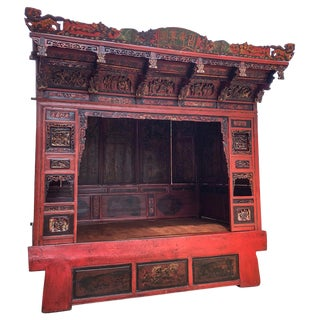 19th Century Chinese Red Lacquered Opium Canopy Bed For Sale