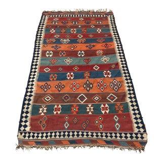 Vintage Turkish Kilim Wool Rug - 5′ × 9′ For Sale