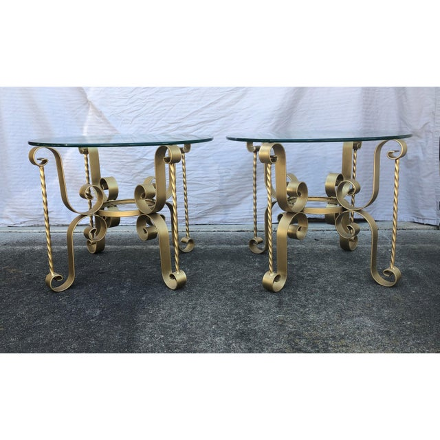 Antique Gold Hollywood Regency Metal Tables - A Pair For Sale - Image 9 of 9