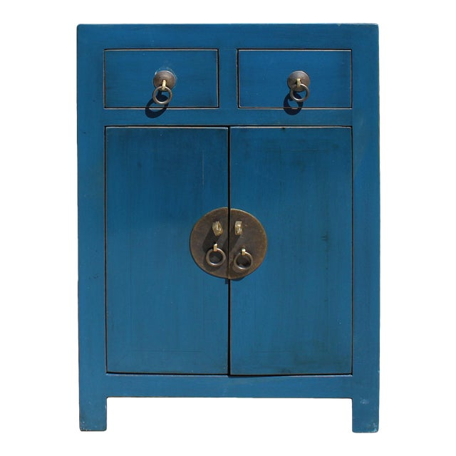 Oriental Distressed Teal Blue Chathams Lacquer Side End Table Nightstand For Sale
