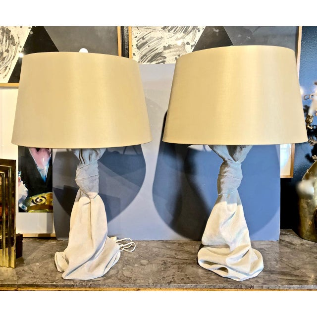 John Dickinson-Style Draped Lamps - a Pair For Sale - Image 9 of 9