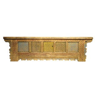 Vintage Chinese Carved Wood Low Credenza For Sale