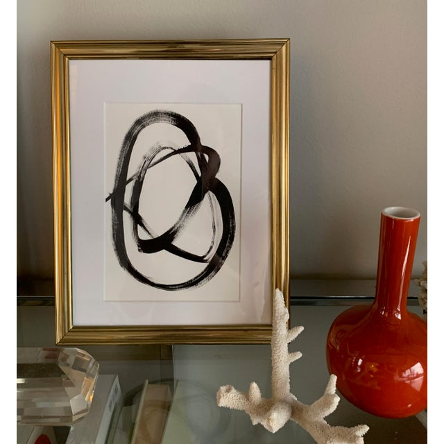 Beautiful original black and white painting framed and matted in a vintage gold frame. Can stand or hang on the wall, 9...