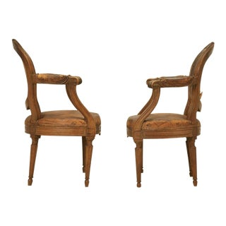 French Louis XVI Style Armchairs in Original Leather - a pair For Sale