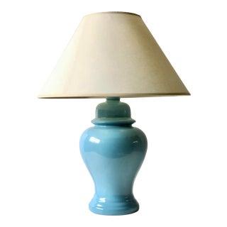 Vintage Ginger Jar Lamp With Linen Shade For Sale
