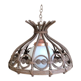 Curly Wicker Rattan Hanging Pendant Light For Sale