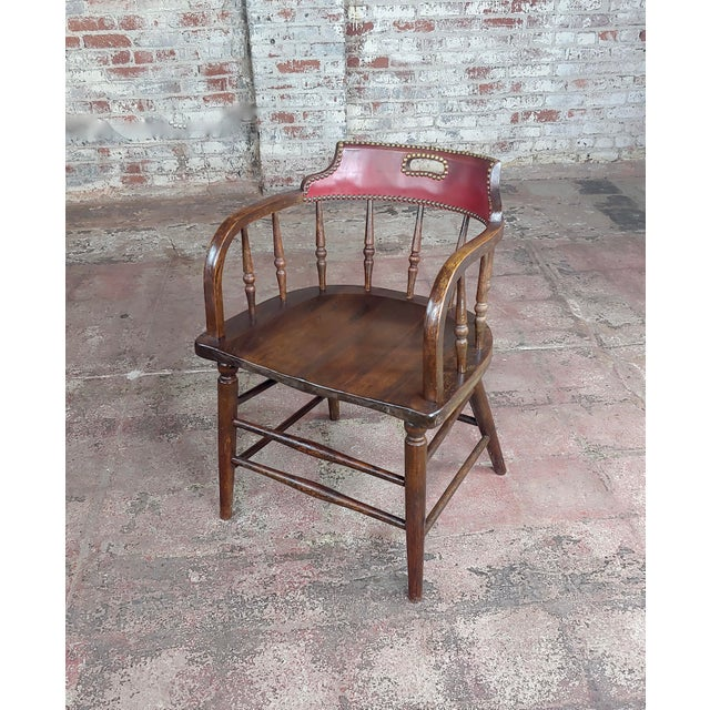 1900 - 1909 Antique Captain Old West Gambling Arm Chairs -Set of 6 For Sale - Image 5 of 8