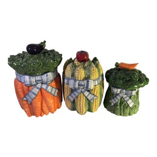 1990s Vintage Fitz and Floyd Set Garden Canisters- 3 Pieces Kitchen Canisters Vegetable Counter Decor For Sale