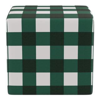 Cube Ottoman in Hunter Check For Sale