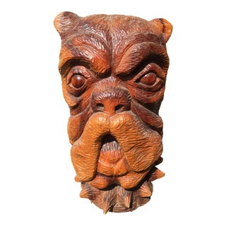 1940s Mid-Century Wood Carving of a Bull Mastiff Dog For Sale