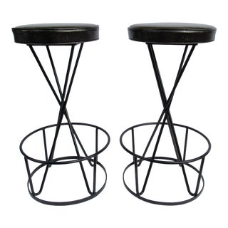C.1950's Mid-Century Frederick Weinberg(Designer) Atomic Hairpin Legged Counter/Bar Stools - a Pair For Sale